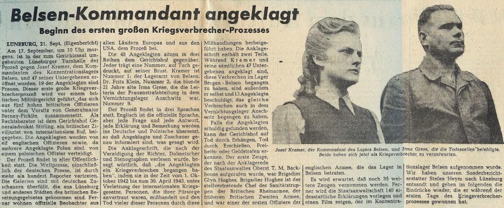 """Einleitung für einen Korrespondentenbericht Stefan Heyms aus Lüneburg in der """"Münchener Zeitung"""" vom 22. September 1945."""