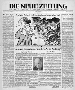 """Titelseite der ersten Ausgabe der """"Neuen Zeitung"""" vom 18. Oktober 1945. Links eine Kolumne von Stefan Heym."""