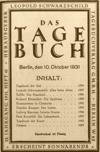 """Die von Leopold Schwarzschild zunächst in Berlin, später in München herausgegebene Zeitschrift """"Das Tagebuch"""" druckte 1932/33 mehrere Gedichte des jungen Stefan Heym. Bereits im Herbst 1931 hatte sie ihre Leser über die Umstände informiert, die ihn gezwungen hatten, seine Heimatstadt Chemnitz zu verlassen (Abb.)."""